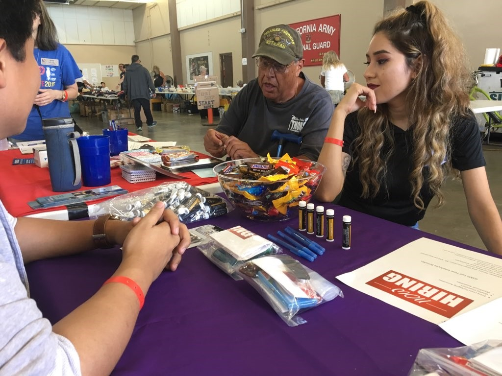 A veteran stops at the GSMS booth at Ventura County Stand Down
